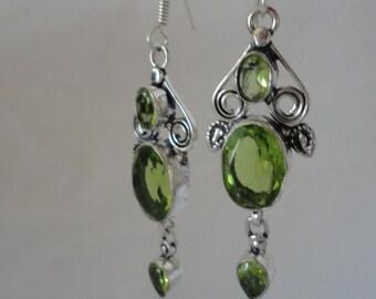 Elegant Faceted Peridot Silver Chandelier Earrings******.