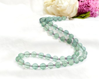 Fluorite necklace with amethyst and 925 sterling silver *Free worldwide shipping*