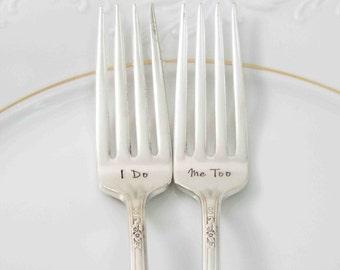 I Do Me Too Forks, Wedding Forks, Wedding Gift, Forks with Date, Wedding Cake Forks, Bride Groom Forks, Personalized Wedding Forks, Wedding