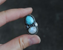 Moonstone & Bisbee Turquoise (available to be finished as a ring or necklace)