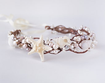 starfish crown, seashell crown, beach wedding crown, mermaid crown, seashell headpiece, starfish headpiece, starfish headband - OCEAN QUEEN