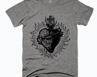Sacred Heart Tshirt - Mexican Sacred Heart Tshirt - Unisex Printed T-shirt - Gray Tshirt - Cliche Zero