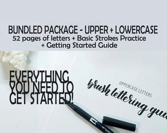 Bundled Package - Brush lettering practice guide - Learn brush calligraphy with this complete set of over 50 practice sheets + tips & tricks