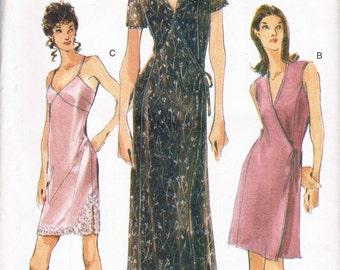 Size 12-16 Misses' Easy Dress Sewing Pattern -  V Neck Mock Wrap Side Tie Dress Pattern - Long Dress Or Short Dress Pattern - Vogue 9841