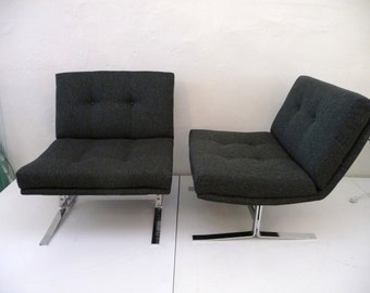 Pair of Mid Century Modern Chairs with Chrome Legs