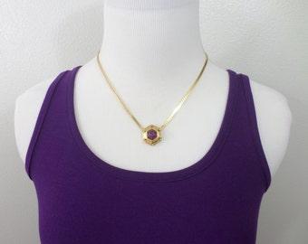 Trifari Amethyst Necklace Gold Hexagon Geometric Gold Vintage Trifari February Birthstone Gemstone Vintage Necklace Jewelry