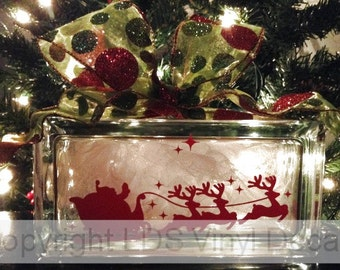 Santa's Sleigh, Reindeer, and Stars - Christmas Vinyl Lettering for Glass Blocks - Holiday Craft Decals - Rectangle Block