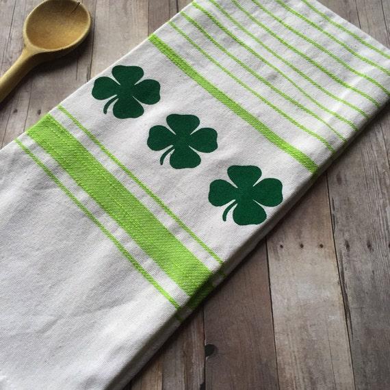 Dish Towel Sale: Sale Shamrock Kitchen Dish Towel Lime Green & White. Four