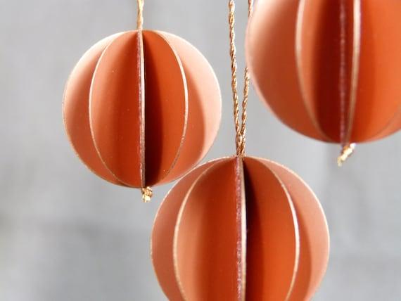 3 paper balls copper paper pendant