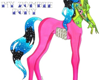 Zombie Print My Zombie Pony, Zombie Print, Zombie Art, Zombie Artwork, Creepy Cute, Centaur, Magical Girl