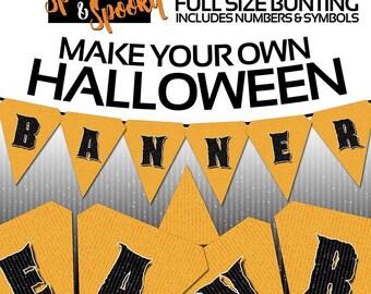 Halloween Decorations Outdoor, Halloween Party Printables: Halloween Bunting, Halloween Party, Decor - Instant Download