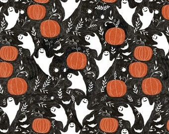 Halloween Fabric, Ghost Fabric - Mischief Night Ghosts by Dinara Mirtalipova for Windham Fabrics - 40647  - Priced by the Half Yard