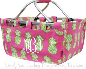 Personalized Embroidered Monogrammed Pineapple Collapsible Market Basket