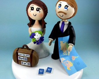 Custom wedding cake topper, travel cake topper, traveler bride and groom, travelers cake topper, tourist cake topper