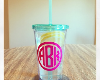 Personalized 16oz Acrylic Double Wall Tumbler {clear with mint lid & straw}