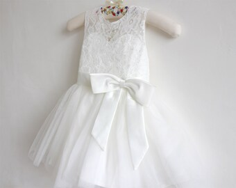 Light Ivory Flower Girl Dress Baby Girls Dress Lace Tulle Flower Girl Dress With Bows Sleeveless Knee-length