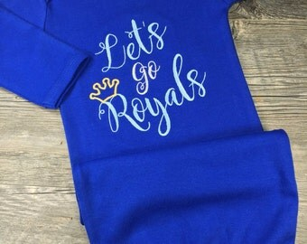 Royals fan etsy monogrammed gown personalized boy or girl kansas city royals baby shower gift for negle Choice Image