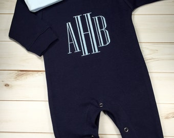 Baby Boy Coming Home Outfit, Monogrammed Personalized Romper with Hat, Custom Baby Boy, Baby Shower Gift, Newborn Pictures, Navy Romper