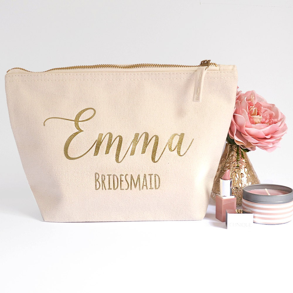 Make Wedding Gift: Ivory Personalised Bridesmaid Gift Make Up Bag