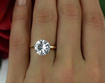 4 ct, 14k Yellow and 14k White Gold Ring, 6 Prongs, Two Toned Solitaire Ring, Engagement Ring, Man Made Diamond Simulant, Wedding Ring