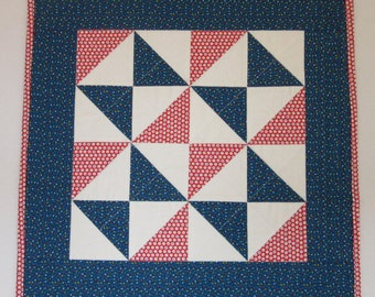 """Doll Quilt, 20"""" x 20"""", Red, Blue, White, Calico, Fool's Square Quilt, Free Pillow"""