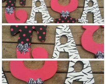 Hand Painted Hot Pink and Zebra Diva Inspired Custom Wooden Letters, Hot Pink Girly Letters, Zebra Letters, Hand Painted Letters, Pink Zebra