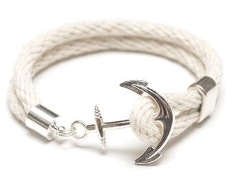 Nautical Rope Bracelet / Nautical Anchor Bracelet / Ivory Anchor Bracelet / Silver Anchor Bracelet / Nautical Jewelry / Nautical Gift