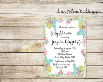 Floral Baby Shower Invitation, Spring Summer Floral Baby Shower Invitation, Boho Baby Shower Invitation, Rustic Floral Invitation