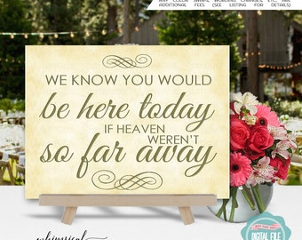 In Honor Of Sign (Printable File Only) In Memory Of Sign, Memorial Sign, Loved Ones Sign, If Heaven Weren't So Far Away, Wedding Sign