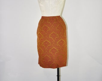 20% OFF 50s rust brocade skirt / 1950s burnt sienna skirt / baroque pencil skirt