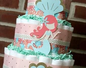 Perfect 3 Tier Mermaid Diaper Cake, Peach Coral Teal Mint Gold, Baby Girl Mermaid  Baby