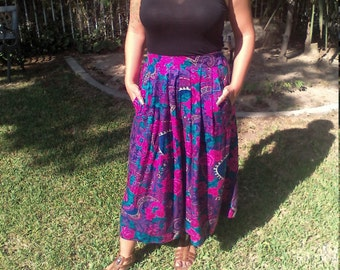 Free Ship, Cullotes skirt, purple flowers, Paisley,pink,purple green, medium Skirt