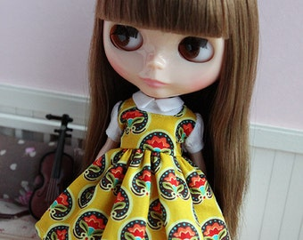 Blythe yellow red and white flower pattern short sleeves one piece dress