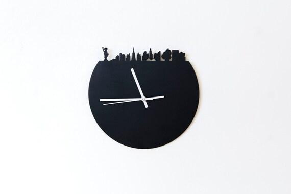 horloge ardoise panorama new york bois contreplaqu d coupe. Black Bedroom Furniture Sets. Home Design Ideas