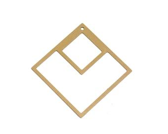 Raw Brass Square Pendant, 1 Pc, Large Square Pendant, Art Deco Pendant, Geometric Jewelry, Geometric Pendant, Laser Cut Pendant