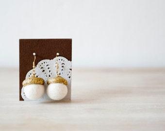 Glittery gold Acorn drop earrings