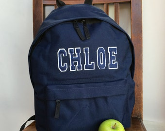 Personalised Rucksack Appliqué Name Varsity Style Letters Backpack Girls and Boys School Gym School Swimming Bag Ballet