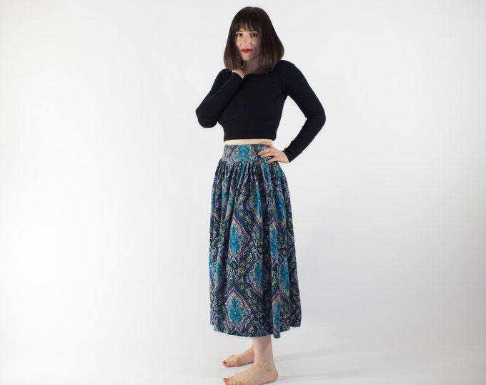 Vintage Skirt | 80s Paisley Psychedelic Skirt | Cute Boho Festival Skirt