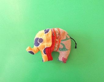 Toy Elephant (yellow orange floral) recycled kantha quilt soft plush stuffed kid friendly ecofriendly environmentally friendly