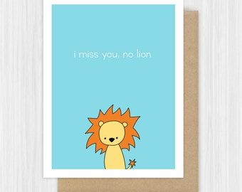 Funny Miss You Card Lion Pun Missing Thinking Of Goodbye Farewell Moving Away Cards For Friend Girlfriend Boyfriend Cute Handmade Greeting