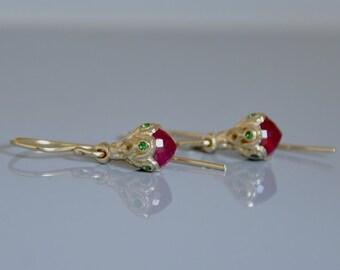 Ruby Earrings , Ruby Jewelry , 14k Gold Earring , Tiny Ruby Earring, 14k Gold Dangle Earring , Dainty Gold Earrings , Gold Drop Earring