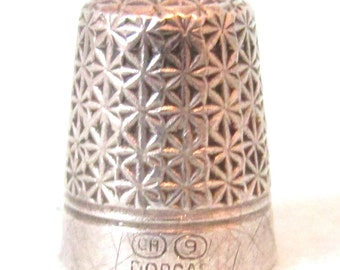 FREE POST - Antique Collectible Silver Thimble, Charles Horner Thimble, Dorcas No 9, Sewing Accessory, Display Piece, Decorative Thimble