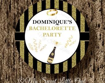 Bachelorette gold label - Bachelorette sticker - Bachelorette cupcake topper - Bachelorette tag - Bachelorette printable - champagne