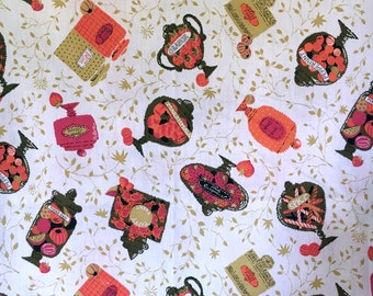 Vintage Cotton Fabric with Novelty Candy Jar Print , c. 1950s or 1960s (37 inches wide, sold by the yard)