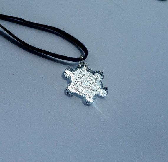 Metatron 39 s cube pendant engraved on mirror plexiglass by for Metatron s cube jewelry