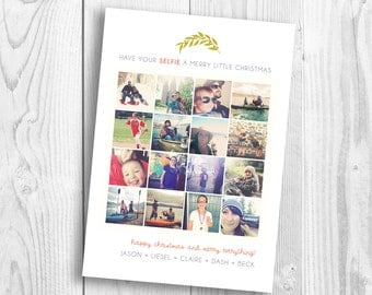 Selfie Holiday Christmas Card - instagram - lots of photos