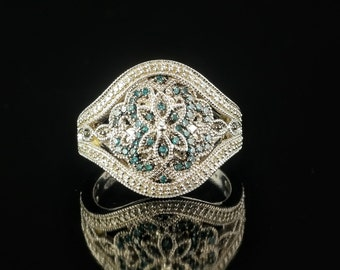 3/4 ct Sterling Silver Floral Diamond Ring Size 9 Vintage