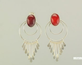 Sterling Silver Red Carnelian Stud Earrings