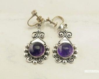 Sterling Silver Purple Amethyst Screw Back Earrings