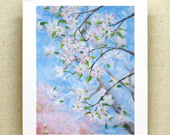 Botanical Print, Dogwood Print, floral print, nature art print, impressionist art, accent art print, 8x10 or 11x14 inch, blue pink white